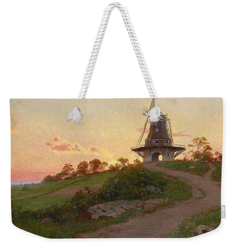 Johan Krouthén Mill In Molle Weekender Tote Bag featuring the painting mill in Molle by MotionAge Designs