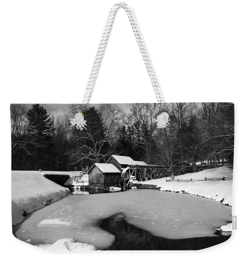 Ice Weekender Tote Bag featuring the photograph Mill On Ice by Eric Liller