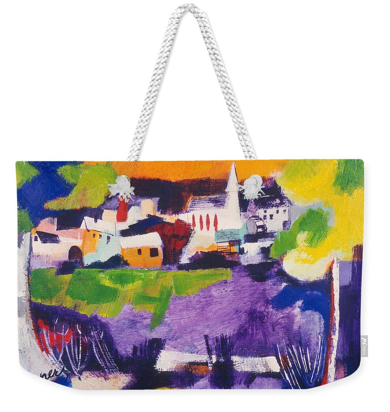 Mill Pond Weekender Tote Bag featuring the painting Mill Pond In Summer by Betty Pieper