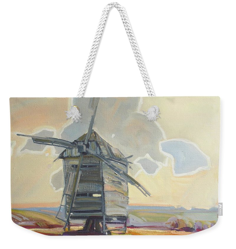 Oil Weekender Tote Bag featuring the painting Mill by Sergey Ignatenko