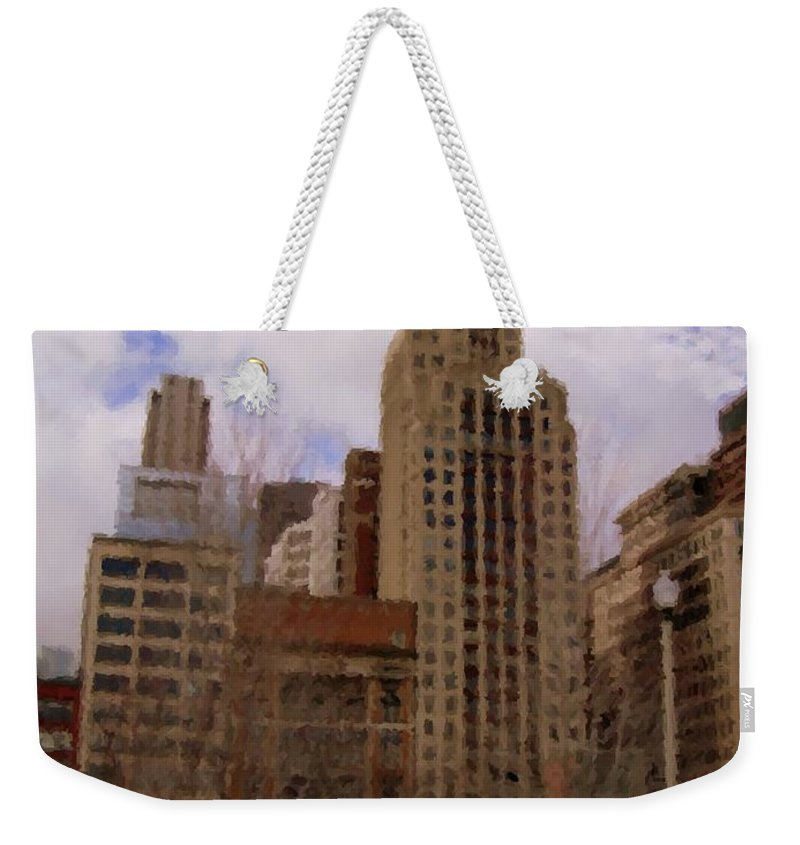 Chicago Weekender Tote Bag featuring the digital art Millenium Park And Bench 1 by Anita Burgermeister