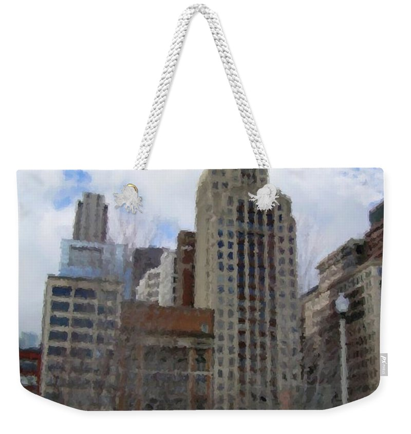 Chicago Weekender Tote Bag featuring the digital art Millenium Park And Bench 2 by Anita Burgermeister