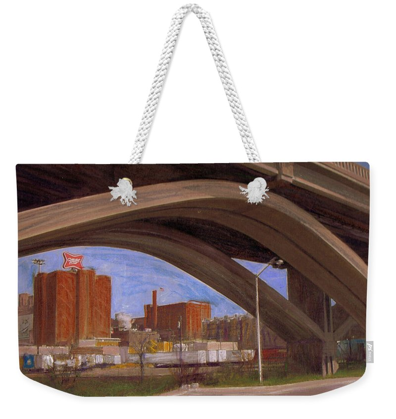 Mixed Media Weekender Tote Bag featuring the mixed media Miller Brewery Viewed Under Bridge by Anita Burgermeister
