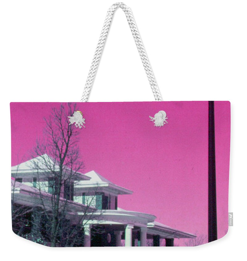 Miller Park Weekender Tote Bag featuring the photograph Miller Park Pavilion False Color Ir Number 1 by Alan Look