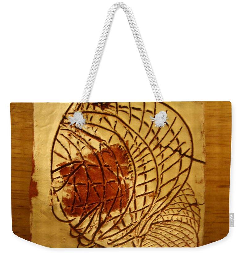 Jesus Weekender Tote Bag featuring the ceramic art Milos Return - Tile by Gloria Ssali