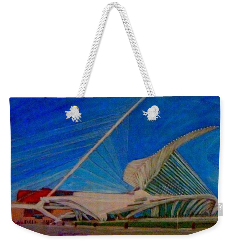 Mam Weekender Tote Bag featuring the mixed media Milwaukee Art Museum by Anita Burgermeister