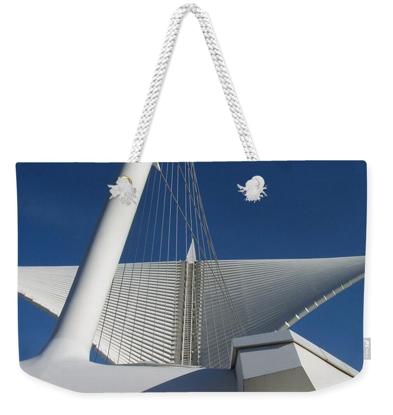 Mam Weekender Tote Bag featuring the photograph Milwaukee Art Museum Cropped by Anita Burgermeister
