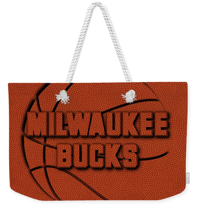 Bucks Weekender Tote Bag featuring the photograph Milwaukee Bucks Leather Art by Joe Hamilton