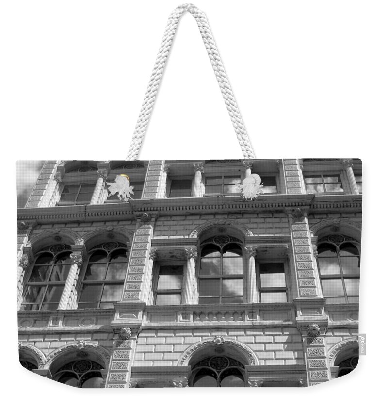 Milwaukee Weekender Tote Bag featuring the photograph Milwaukee Cloud Reflections Bw by Anita Burgermeister