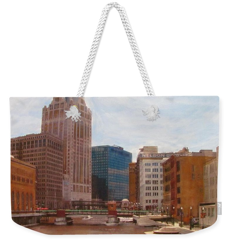 Milwaukee Weekender Tote Bag featuring the mixed media Milwaukee River View by Anita Burgermeister