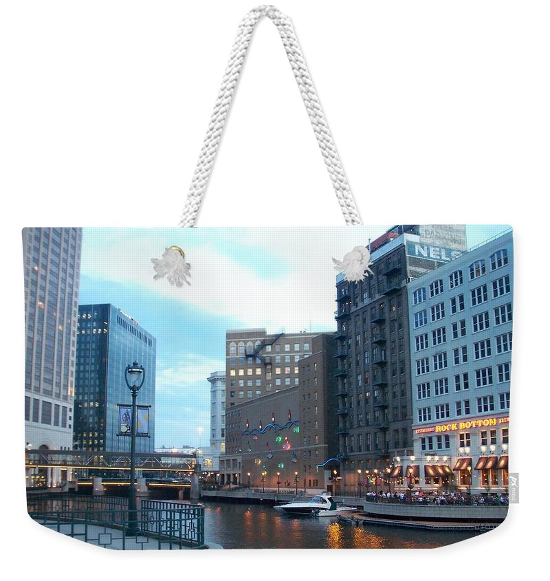 Milwaukee Weekender Tote Bag featuring the photograph Milwaukee River Walk by Anita Burgermeister