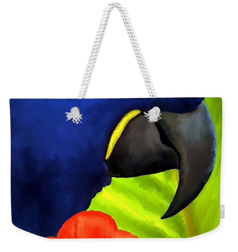 Hyacinth Macaw Weekender Tote Bag featuring the painting Mimi by David Wagner
