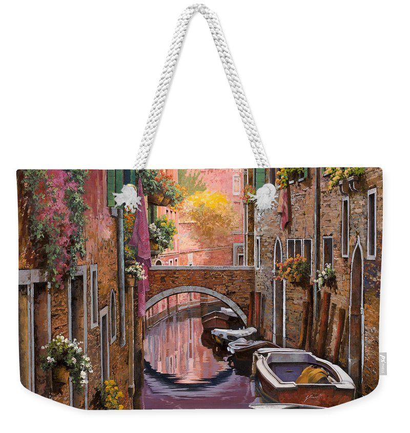 Venice Weekender Tote Bag featuring the painting Mimosa Sui Canali by Guido Borelli