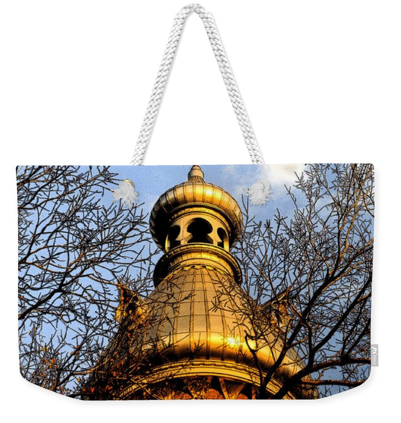 Minaret Weekender Tote Bag featuring the painting Minaret Through Oak by David Lee Thompson