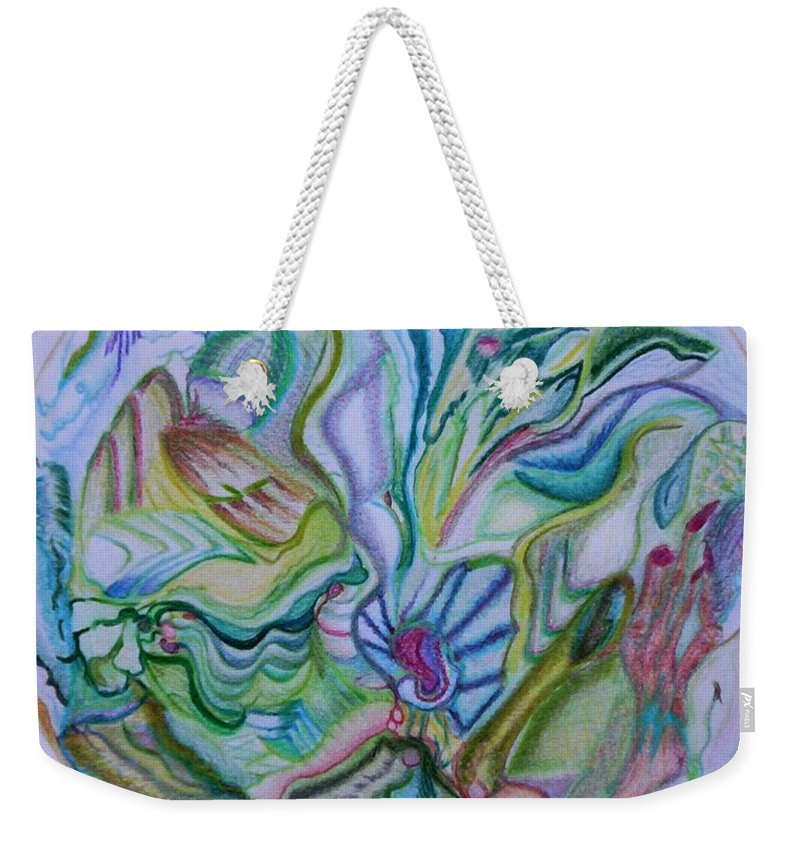 Abstract Weekender Tote Bag featuring the drawing Mind Mandala by Suzanne Udell Levinger