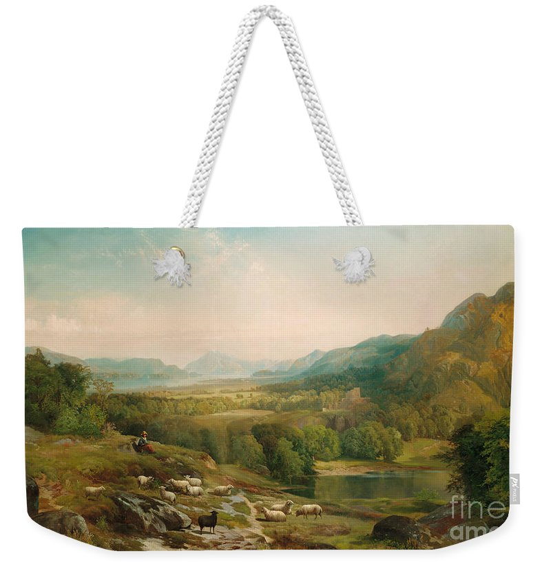 Thomas Moran Weekender Tote Bag featuring the painting Minding the Flock by Thomas Moran