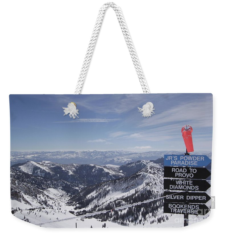 Snowbird Ski Resort Weekender Tote Bag featuring the photograph Mineral Basin by Adam Jewell