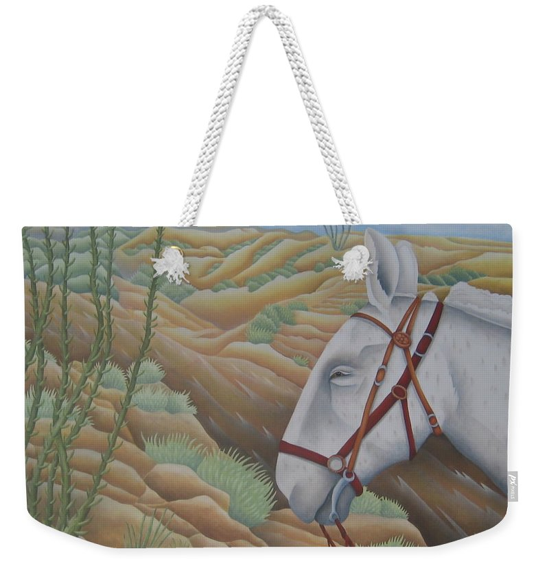Burro Weekender Tote Bag featuring the painting Miner's Companion by Jeniffer Stapher-Thomas