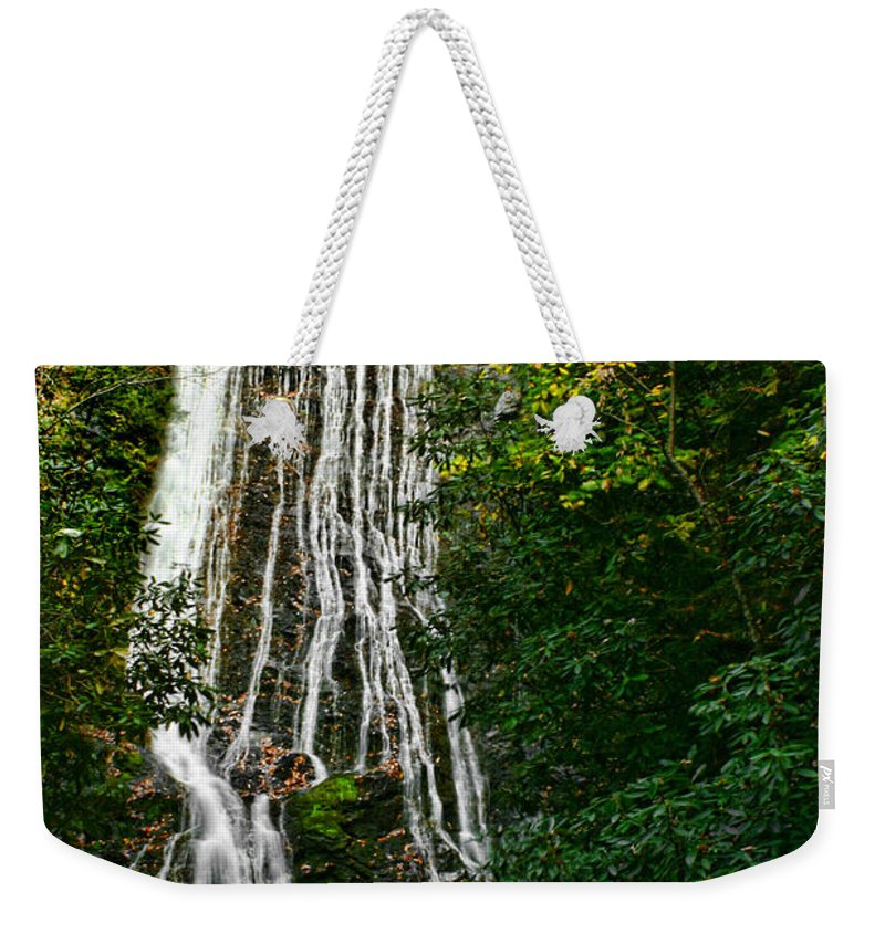 Water Waterfall Flowing Stream Creek Photography Photograph Digital Art Landscape Nature Smoky Mountains Cosby Tennessee Weekender Tote Bag featuring the photograph Mingo Falls - Gsmnp by Shari Jardina