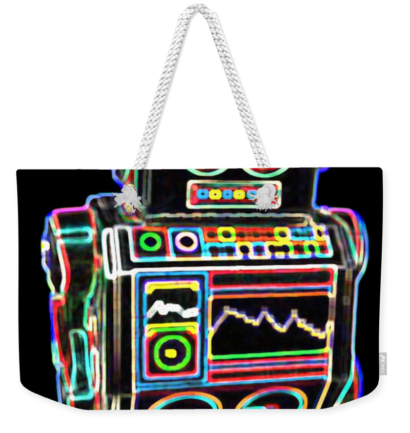 Robot Weekender Tote Bag featuring the digital art Mini D Robot by DB Artist