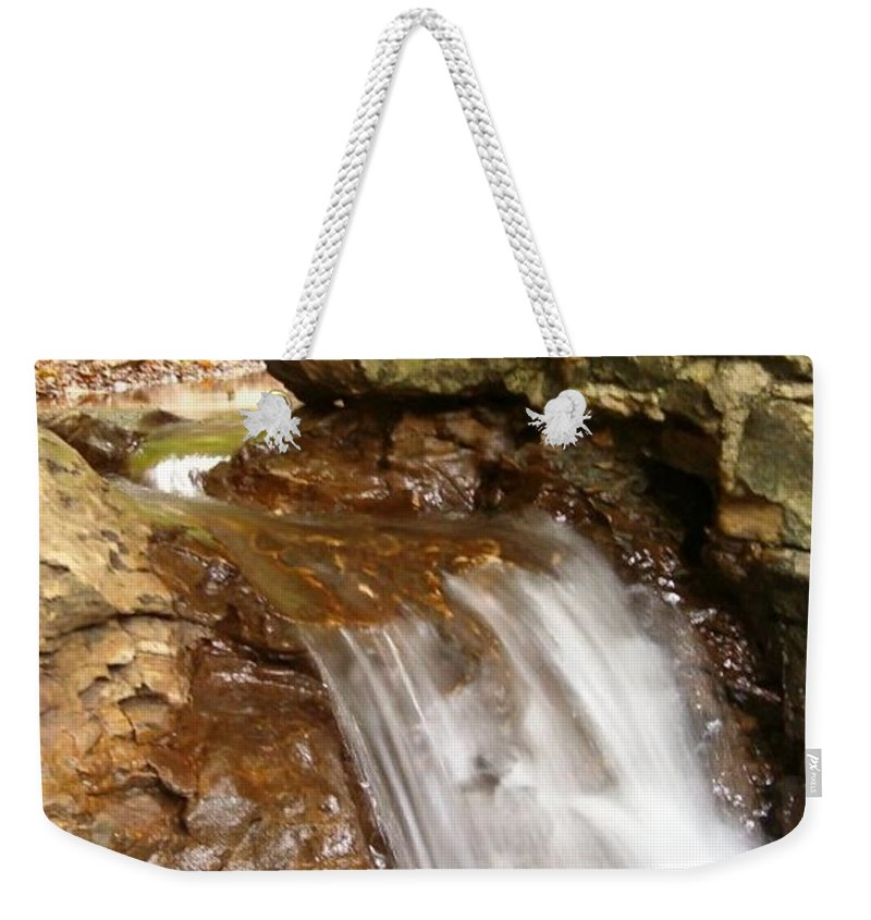 Water Weekender Tote Bag featuring the photograph Mini Falls by Sara Raber