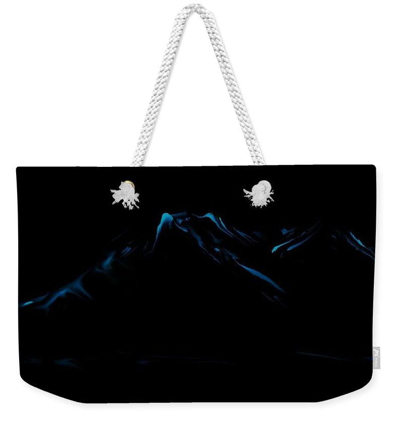 Digital Art Weekender Tote Bag featuring the digital art Minimal Landscape Blue by David Lane