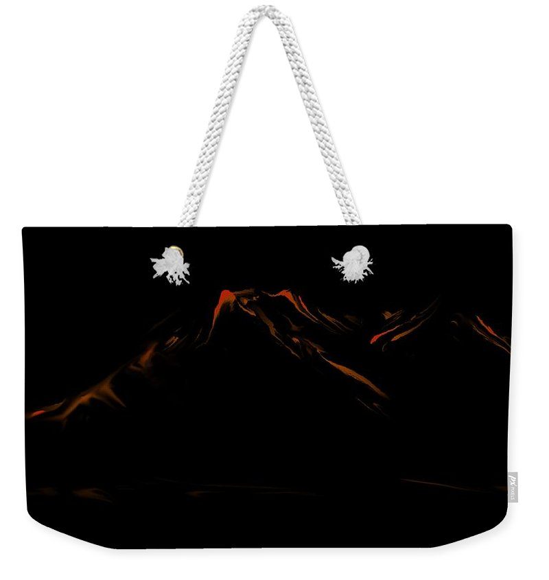 Digital Art Weekender Tote Bag featuring the digital art Minimal Landscape Orange by David Lane