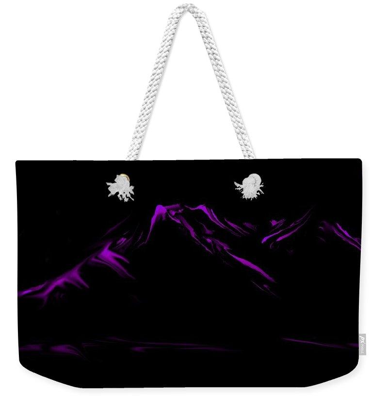 Digital Art Weekender Tote Bag featuring the digital art Minimal Landscape Purple by David Lane