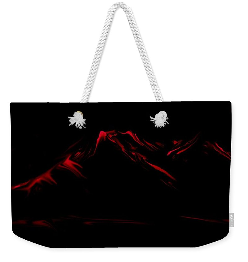 Digital Art Weekender Tote Bag featuring the digital art Minimal Landscape Red by David Lane