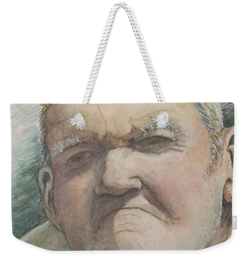 Portrait Weekender Tote Bag featuring the painting Minnesota Farmer by Nadine Rippelmeyer