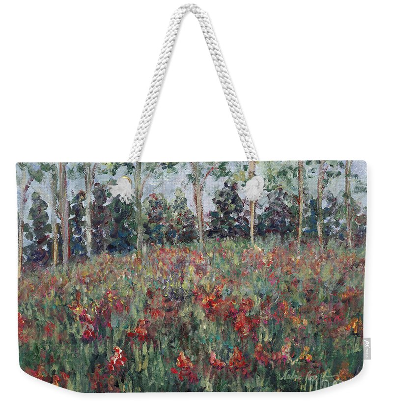 Landscape Weekender Tote Bag featuring the painting Minnesota Wildflowers by Nadine Rippelmeyer