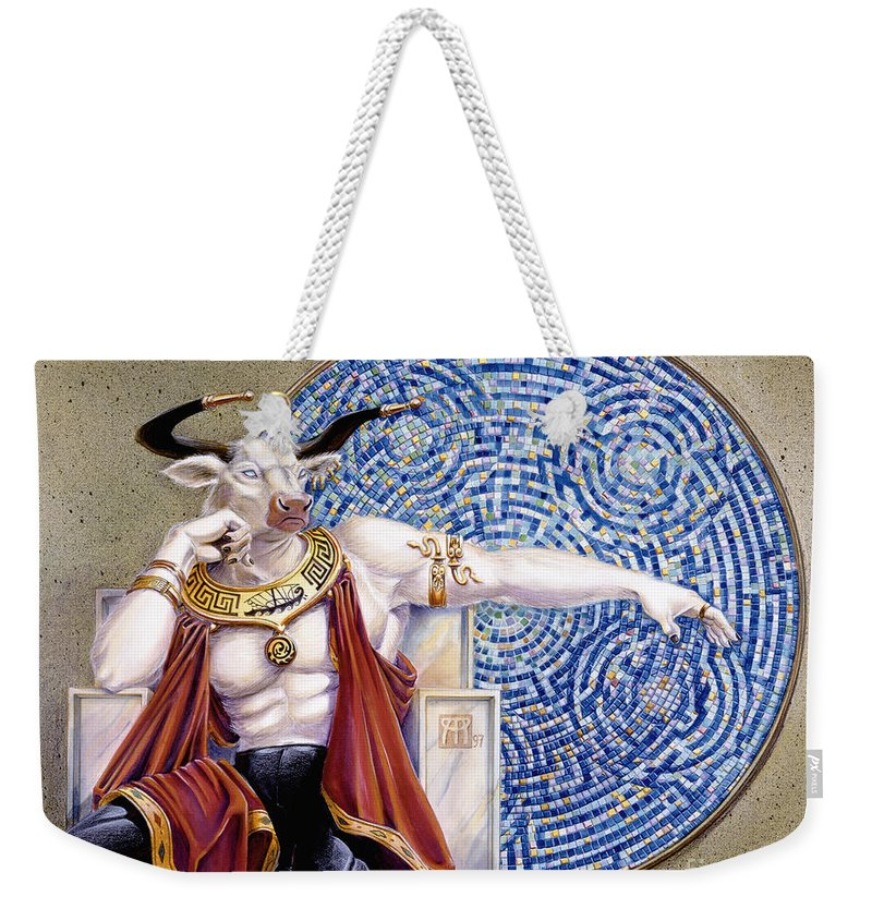 Anthropomorphic Weekender Tote Bag featuring the painting Minotaur with Mosaic by Melissa A Benson