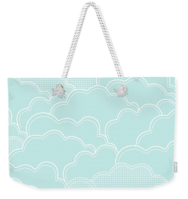Clouds Weekender Tote Bag featuring the digital art Mint Clouds by Elizabeth Tuck