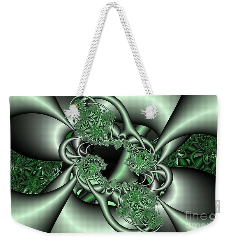 Fractal Weekender Tote Bag featuring the digital art Mint3 by Ron Bissett