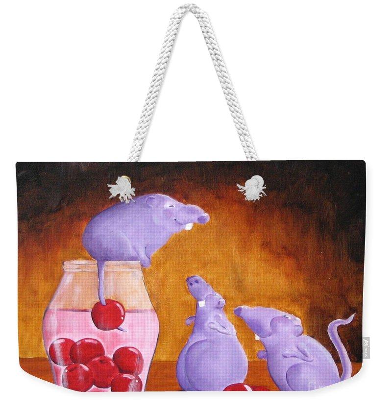 Mice Weekender Tote Bag featuring the painting Mioummmmmmmmmm Cherriesssssssssss by Line Gagne