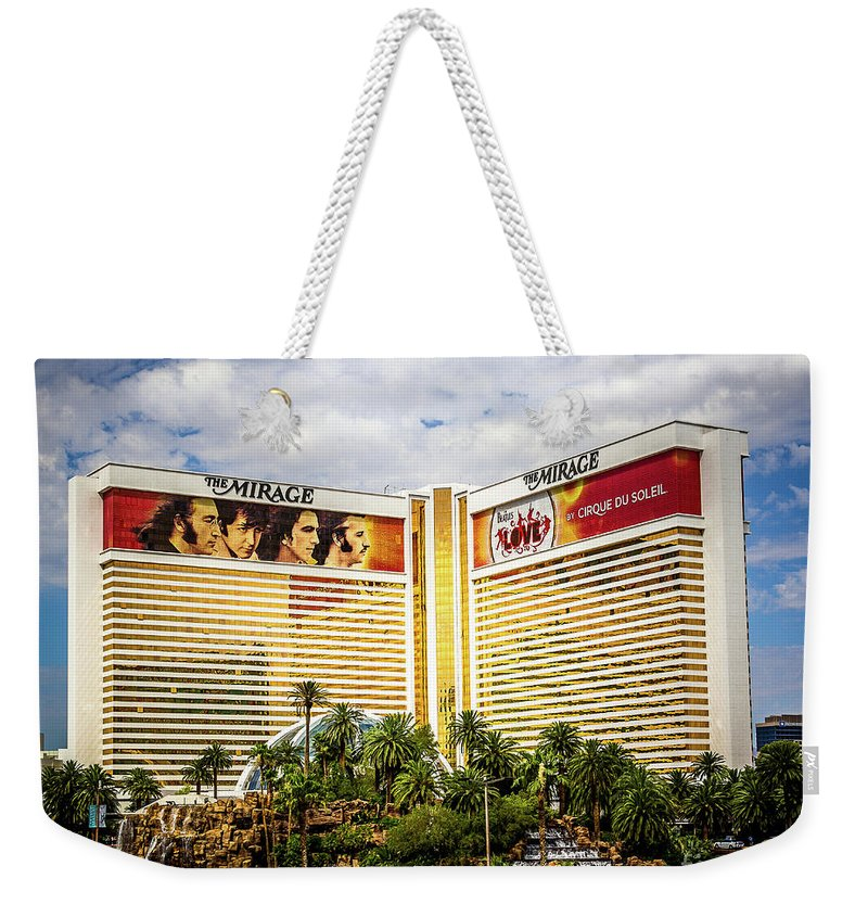Vegas Weekender Tote Bag featuring the photograph Mirage Beatles by Perry Webster
