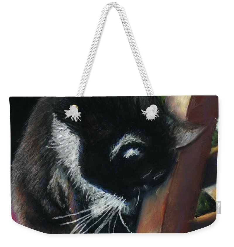 Cat Weekender Tote Bag featuring the painting Kitty Chair by Minaz Jantz