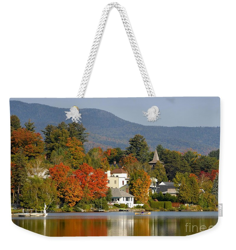 Adirondack Mountains Weekender Tote Bag featuring the photograph Mirror Lake by David Lee Thompson