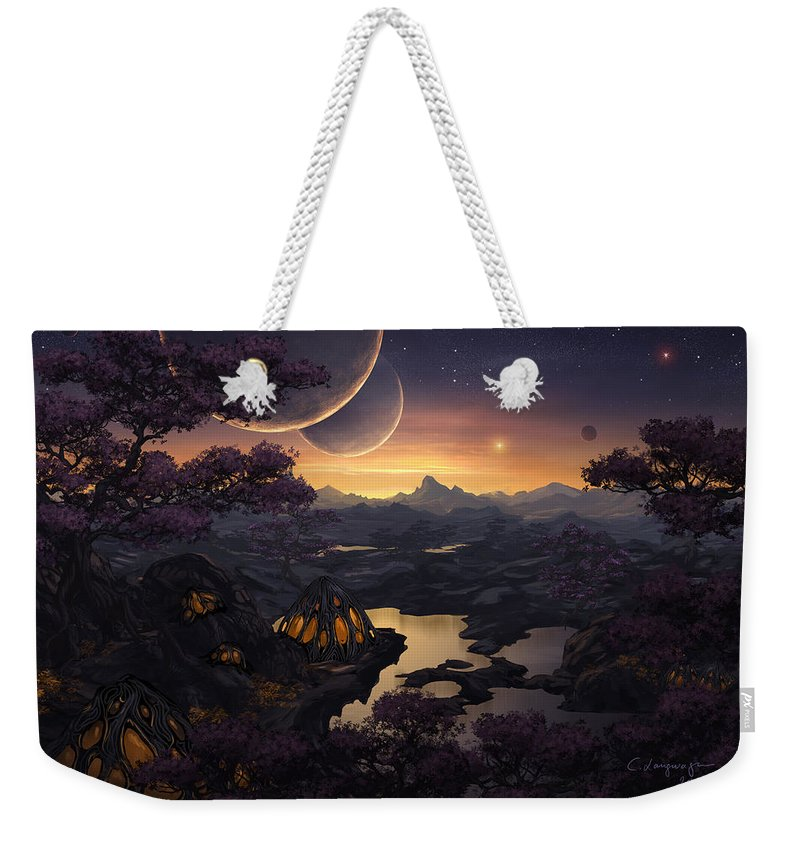 Fantasy Weekender Tote Bag featuring the digital art Mirror Lakes by Cassiopeia Art