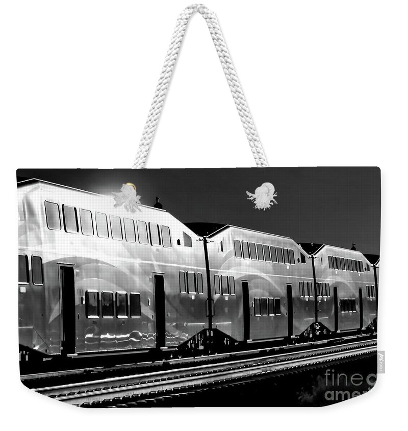 Digital Black And White Photo Weekender Tote Bag featuring the photograph Mirror Of The Winter Sun Bw by Tim Richards