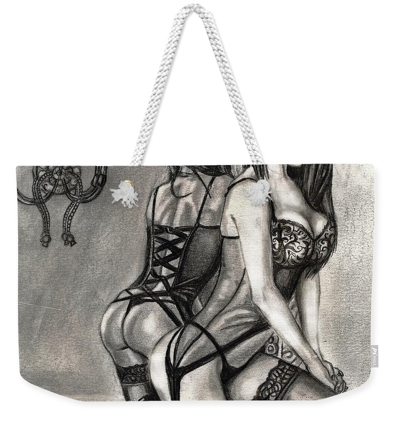 Pencil Dawing Weekender Tote Bag featuring the drawing Mirror Reflection Model by Alban Dizdari