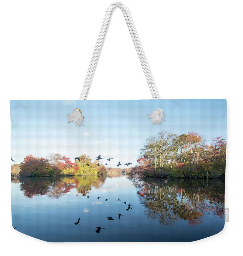 Belmont Lake State Park Weekender Tote Bag featuring the photograph Mirrored Formation by Joan D Squared Photography