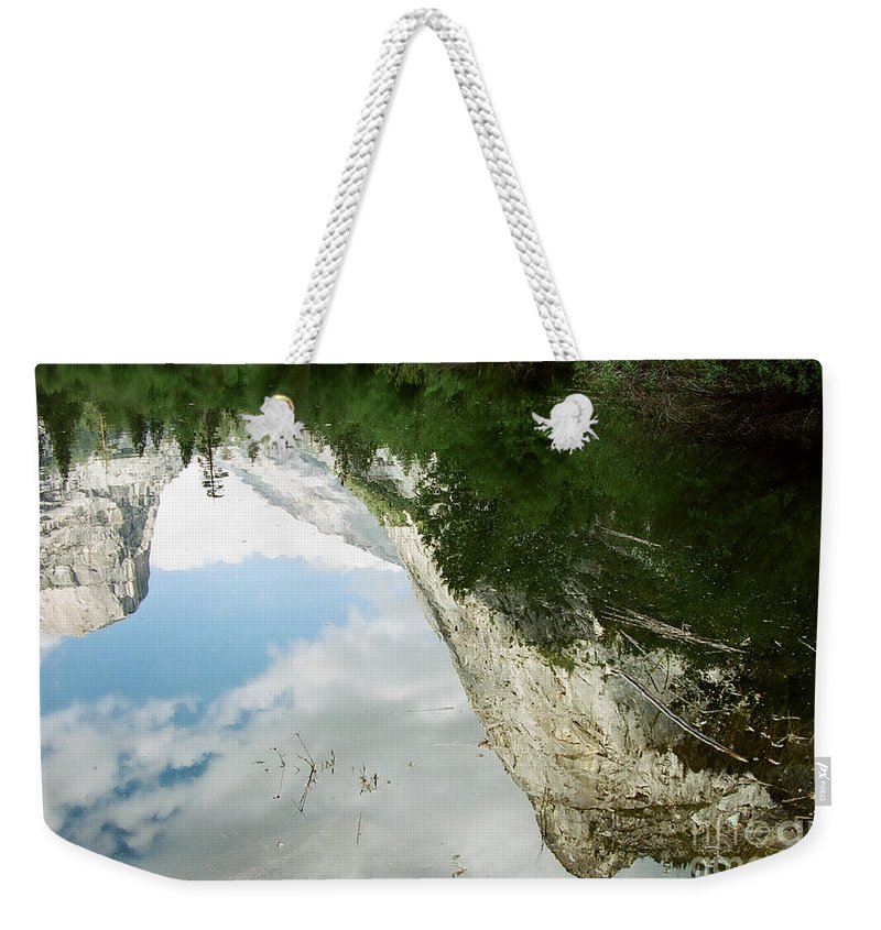 Mirror Lake Weekender Tote Bag featuring the photograph Mirrored by Kathy McClure