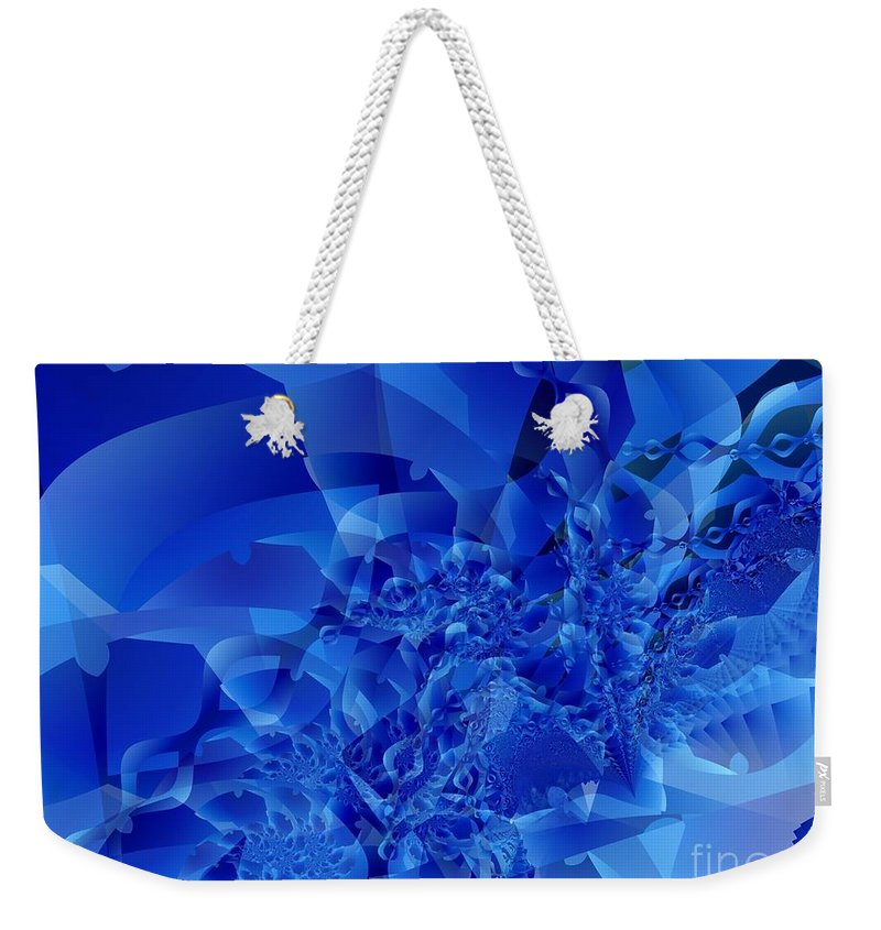 Fractal Art Weekender Tote Bag featuring the digital art Mirrored Waves In Blue by Ron Bissett
