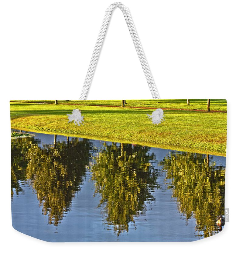 Tree Weekender Tote Bag featuring the photograph Mirroring Trees by Heiko Koehrer-Wagner