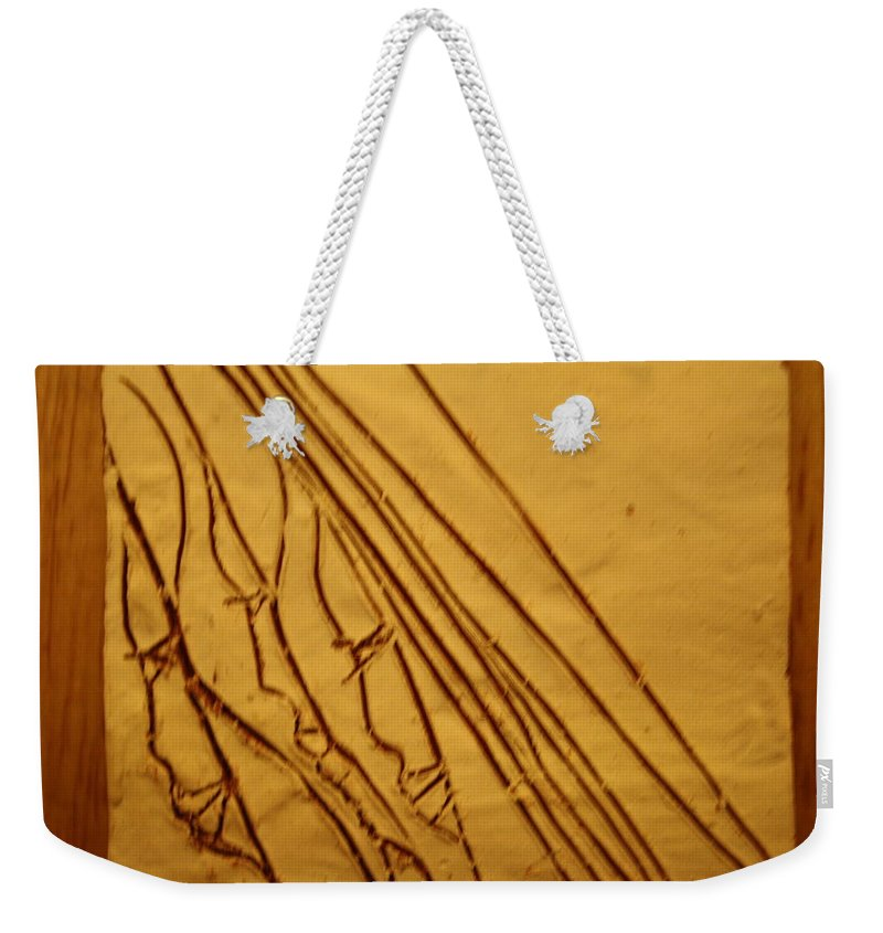 Jesus Weekender Tote Bag featuring the ceramic art Mirrors Of Life - Tile by Gloria Ssali