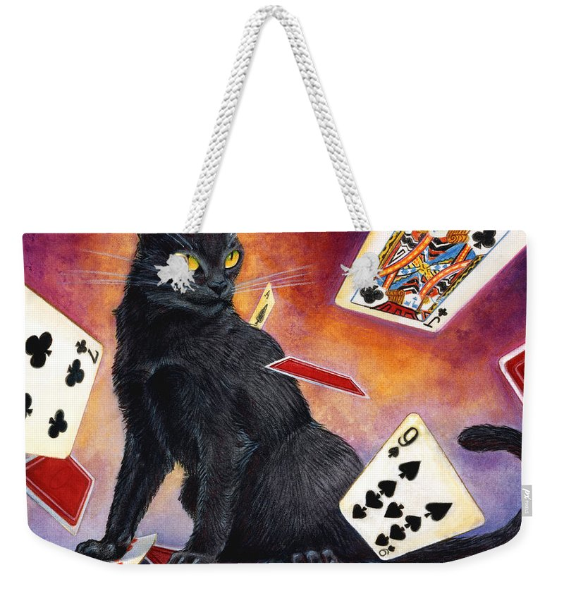 Cat Weekender Tote Bag featuring the painting Mischief Kitten by Melissa A Benson