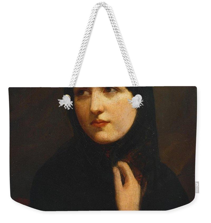 Sir John Everett Millais Weekender Tote Bag featuring the painting Miss Anne Ryan by Sir John Everett Millais