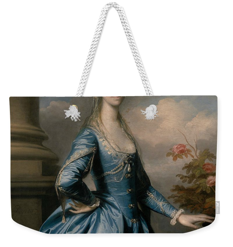 18th Century Art Weekender Tote Bag featuring the painting Miss Elizabeth Ingram by Joshua Reynolds