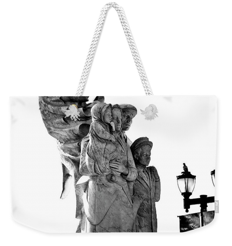 Black And White Weekender Tote Bag featuring the photograph Miss Liberty And The Immigrant Family by Kathleen K Parker